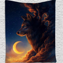 Wolf Moon Night Tapestry Wall Hanging Boho Decor Psychedelic Wall Tapestry Hippie Mandala Wall Cloth Tapestry Carpet Home Decor wall hanging art decor halloween night print tapestry