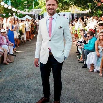 Blazer Masculino Mens Suits (Jacket+Pants) Beach Wedding Groom Tuxedos Groomsmen Blazers Best Man Costume Homme 2Piece
