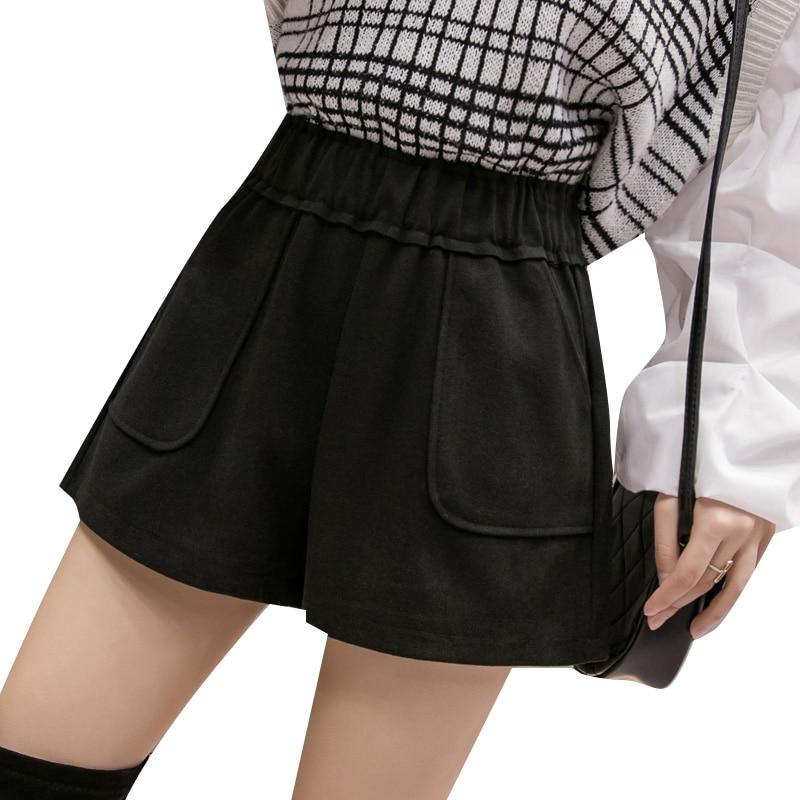 Winter Women Wide Leg Elastic Shorts Fashion Korean Style High Waist Shorts Cintura Alta Feminino Spandex Booty Shorts HH50DK