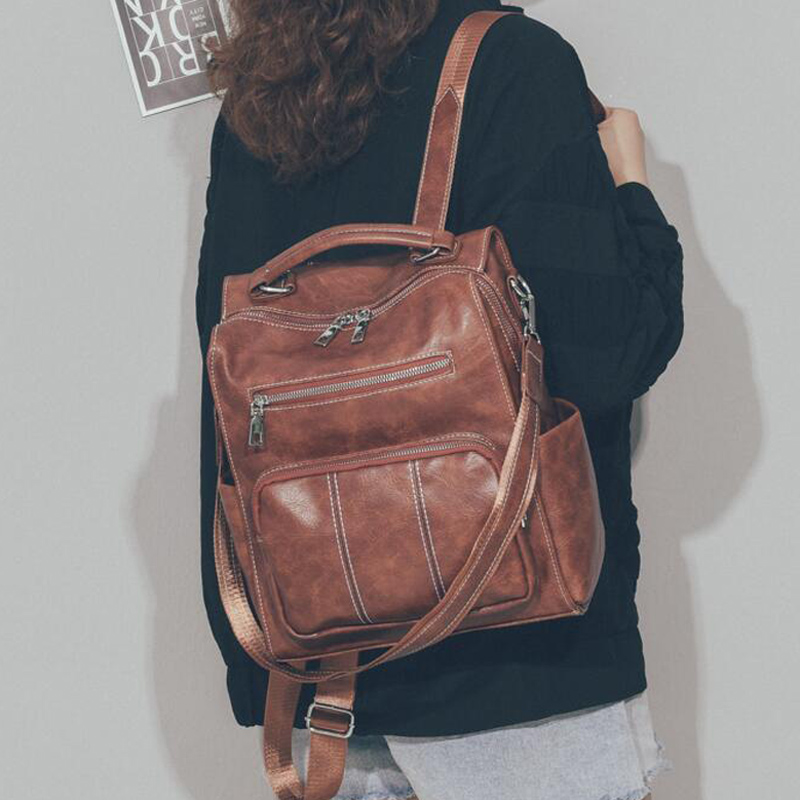 High Quality Leather Backpack Woman New Fashion Female Backpack String Bags Large Capacity Vintage School Bag Mochila Feminina