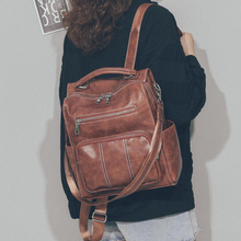 High Quality Leather Backpack Woman New Fashion Female String Bags Large Capacity Vintage School Bag Mochila Feminina