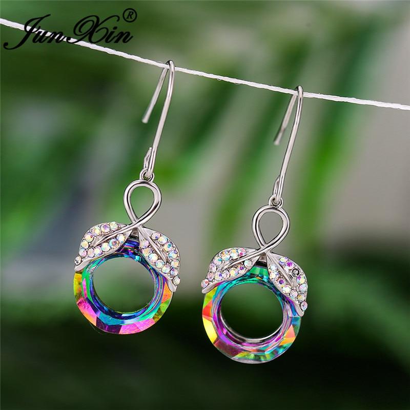 Cute Angel Wings Dangle Earrings White Gold Colorful Rainbow Fire Crystal Leaf Drop Earrings For Women Circle Earring Wedding Cz