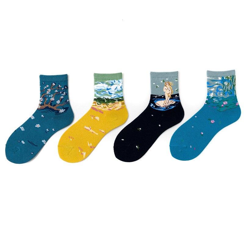 Funny Streetwear Art Cartoon Kawaii Short Socks Van Gogh Renaissance Oil Paint Cotton Socks Abstract Happy Women Warm Cute Socks