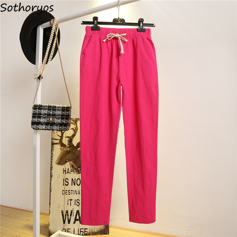 Pants Women Casual Ankle-length Thin Summer New Fashion Womens Various Color Solid Simple All Match Korean Style Females Chic