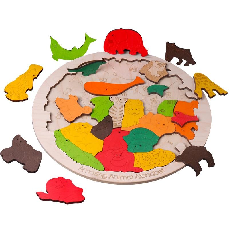 Heißer verkauf Super Große Tier Puzzles Holz Spielzeug 3D Puzzle Jigsaw für Kinder Baby Cartoon Tier Puzzles Frühen Pädagogisches Spielzeug - 2
