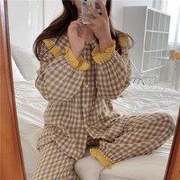 Alien Kitty-Pijama de algodón suave para mujer, ropa de casa, otoño e invierno, pantalones, traje con solapa, pijamas de cuadros escoceses, 2021