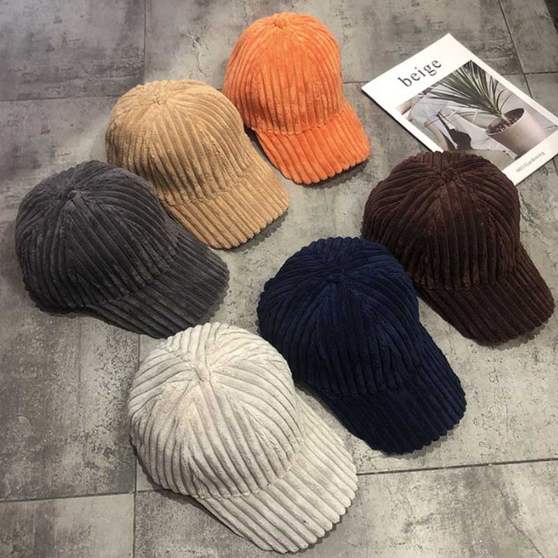 Fashion Winter Solid Color Thick Corduroy   Baseball     Cap   Female Winter Plush Thickening Student Warm   Cap