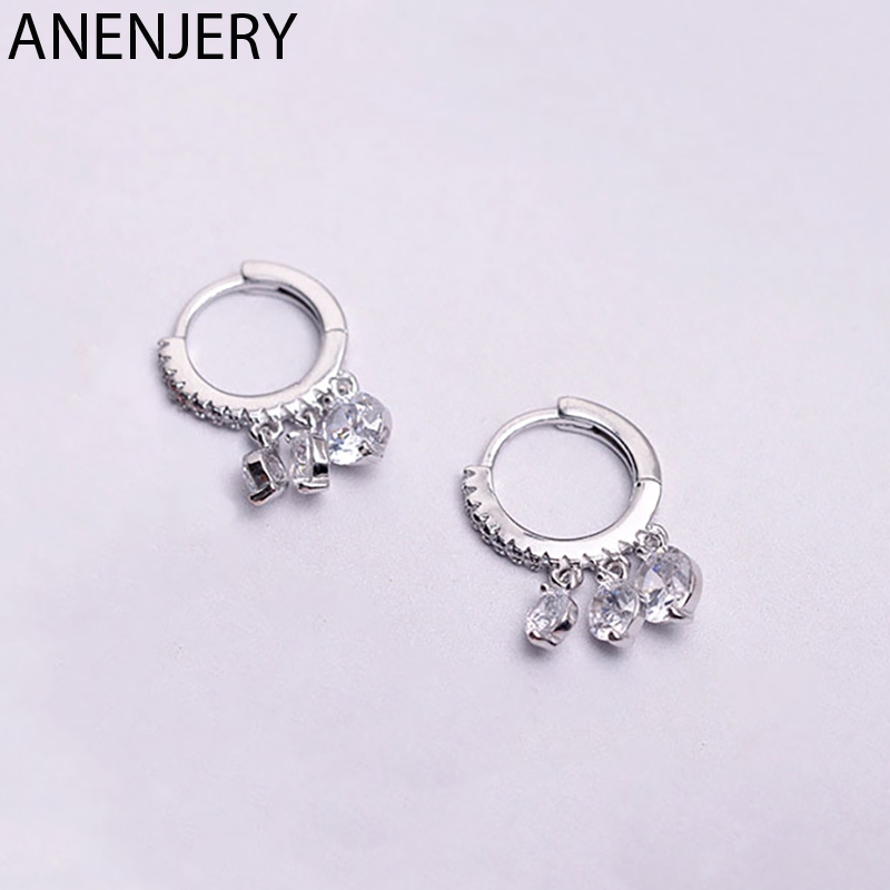 ANENJERY 2019 New Trendy AAAAA Zircon Water Drop Tassel Earrings For Women 925 Sterling Silver Earrings Oorbellen S-E861