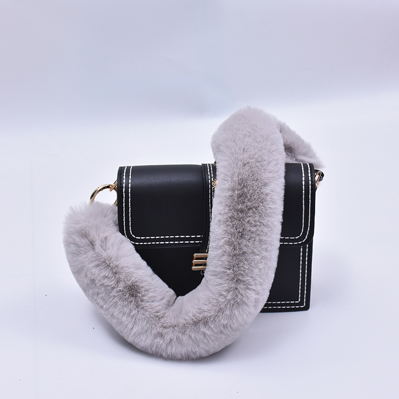 120cm Replacement Bag Strap Faux Rabbit Fur Handbag Should Handle For Women Purse Belts Charm Winter Accessories BS006