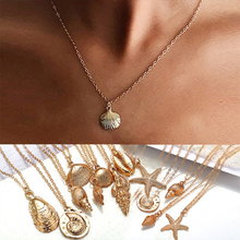 beach conch starfish circles waterproof bath curtain Women Necklace Gold Color Ocean Sea Shell Conch Starfish Pendant Necklace Link Statement Necklace Beach Jewelry
