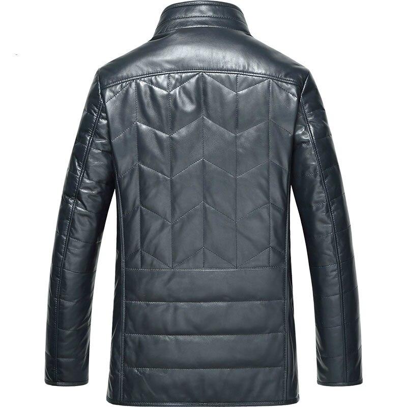 Genuine Leather Jacket Men Sheepskin Coat Men's Down Jacket Winter Mink Fur Collar Slim Real Leather Jackets TX-114098