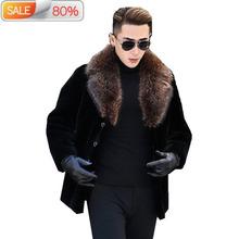 Men Pure Natural Coat Mens Real Raccoon Collar Jackets Luxury Sheep Shearling Fur Coats DXL1642 ND744 cheap Thick (Winter) NONE Polyester Pockets Button Solid REGULAR casaco masculino Slim Wool Sheepskin Turn-down Collar Casual