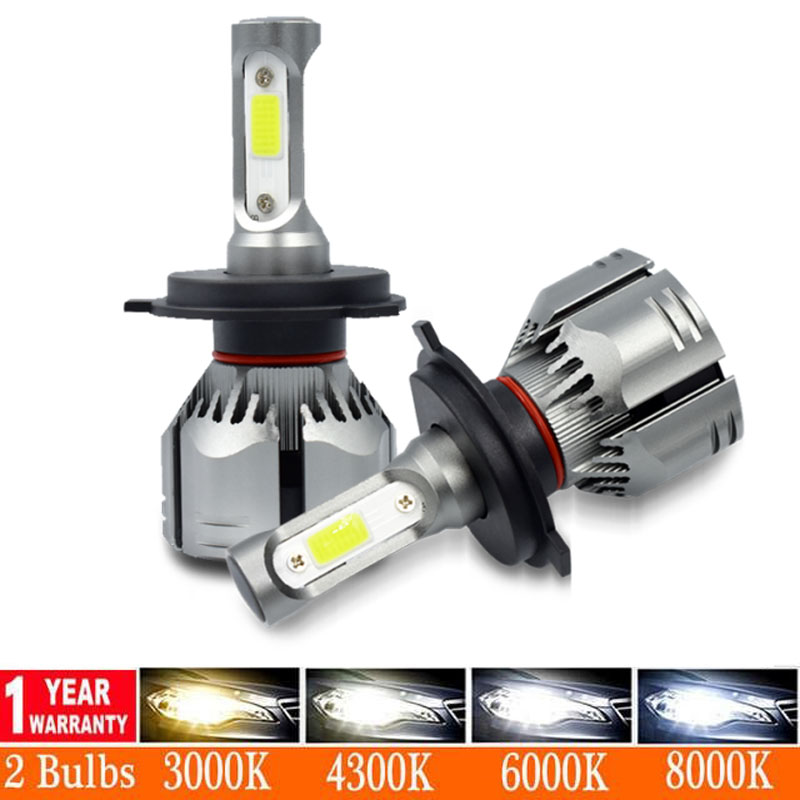 2pcs High Power H4 <font><b>LED</b></font> <font><b>Headlight</b></font> Bulb H7 <font><b>H1</b></font> H4 H11 9005 9006 Hb3 Hb4 Car <font><b>LED</b></font> Fog Light S2 6500K 12000LM 12V Ampoule For Car Kit image