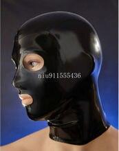 Ручной работы черный латекс Вытяжки Маска с открытым глаз и рта латексная маска для косплея индивидуальный заказ для Для мужчин