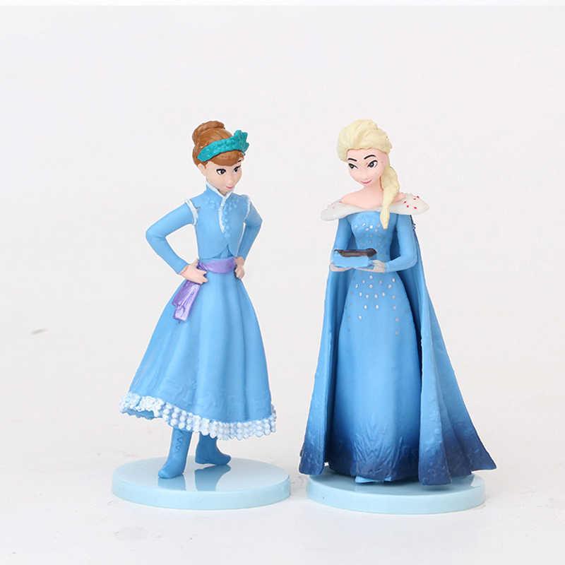 冷凍 2 5-11 センチメートルアニメ pvc アクションフィギュア王女エルザアンナ kristoff スヴェンオラフ誕生日のおもちゃ子供ギフト