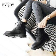 Женские ботильоны из искусственной кожи byqdy черные ботинки