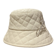 Bucket-Hat Fisherman-Cap Punk-Style Panama Faux-Leather Shiny Solid-Color Unisex Metal-Pin