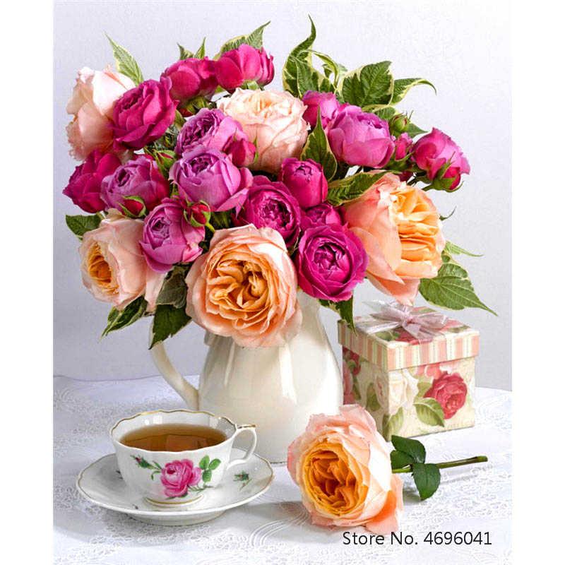 Картина по номерам рамки Раскраска по номерам домашний декор картины цветы ваза украшения RSB8171|Картина по номерам| | - AliExpress