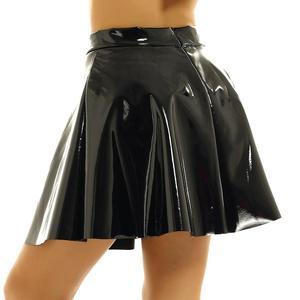 Image 5 - Womens Wetlook Mini Clubwear Sexy Pole Dance Costumes Leather High Waist Fashion Flared Pleated A Line Circle Mini Skater Skirt