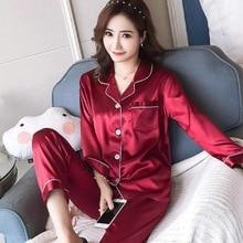 Nightwear Sleepwear Satin Silk Pajama-Sets Turn-Down-Collar Spring Femme Women Lady