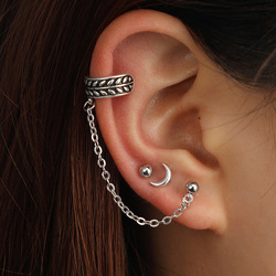 Tocona 3pcs/set Bohemia Moon Drop Earrings Set Leaf Ball Chain Alloy Dangle Earring Piercing Brincos for Women Jewelry 6722