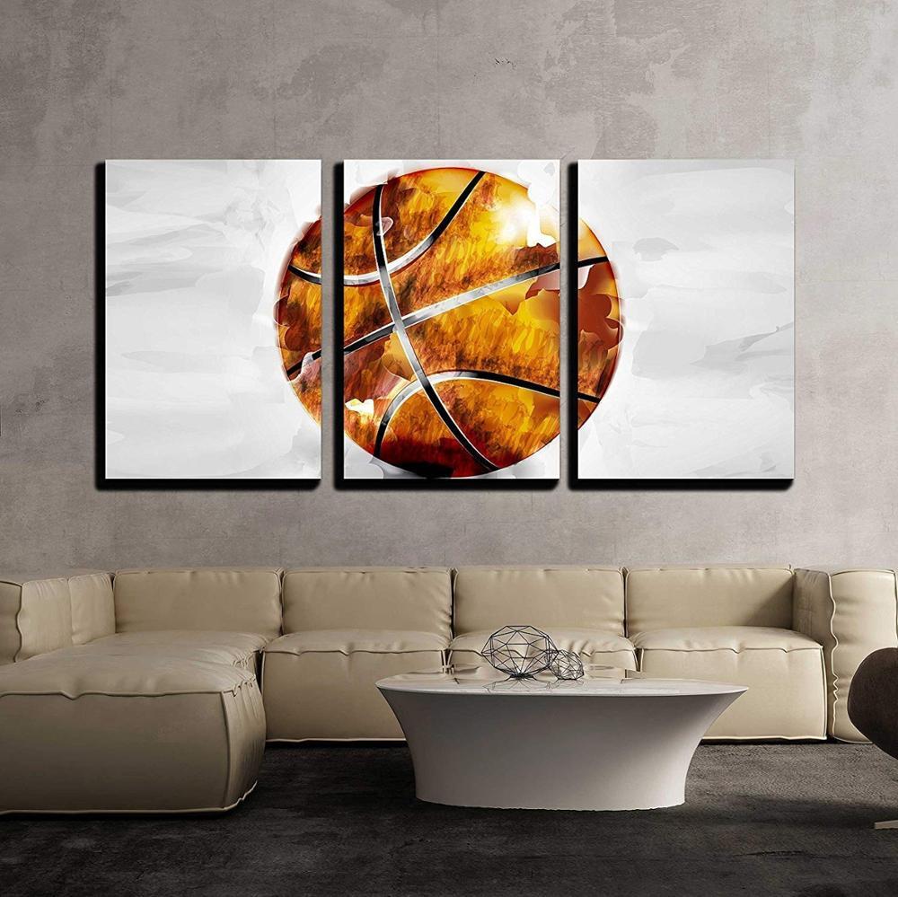 3 pièces toile Art mural-vecteur-ballon de basket-Ball dans le Style aquarelle-moderne décor à la maison impressions sur toile livraison directe