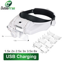 USB Rechargeable Lunettes Loupe Horloger Réparation Outil Loupe LED Bandeau Loupe 1.5x 2x 2.5x 3x 3.5x 8