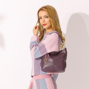 Image 2 - Zency Fashion Purple Women Shoulder Bag 100% Genuine Leather Elegant Tote Handbag High Quality Female Messenger Bags Classic