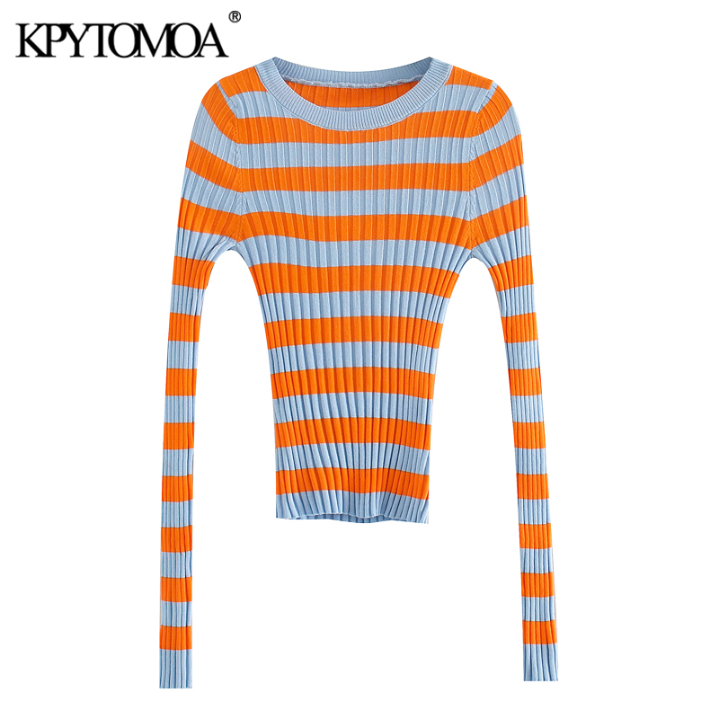 KPYTOMOA Women 2020 Fashion Color Striped Fitted Knitted Sweater Vintage Long Sleeve Stretch Slim Female Pullovers Chic Tops
