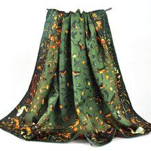 Женский винтажный шейный платок из натурального шелка армейский