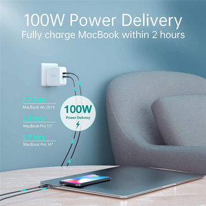 Image 2 - 100W GaN Dual USB Type C Charger for iPad Pro Wall Charger for iPhone 11 Pro Phone for Samsung/Huawei/ASUS/Lenovo/DELL Tablet