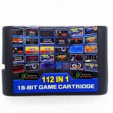 16-bit md cartão preto sega cartão de jogo 112 in1 para sega sega segurado console de jogos de vídeo sega genesis