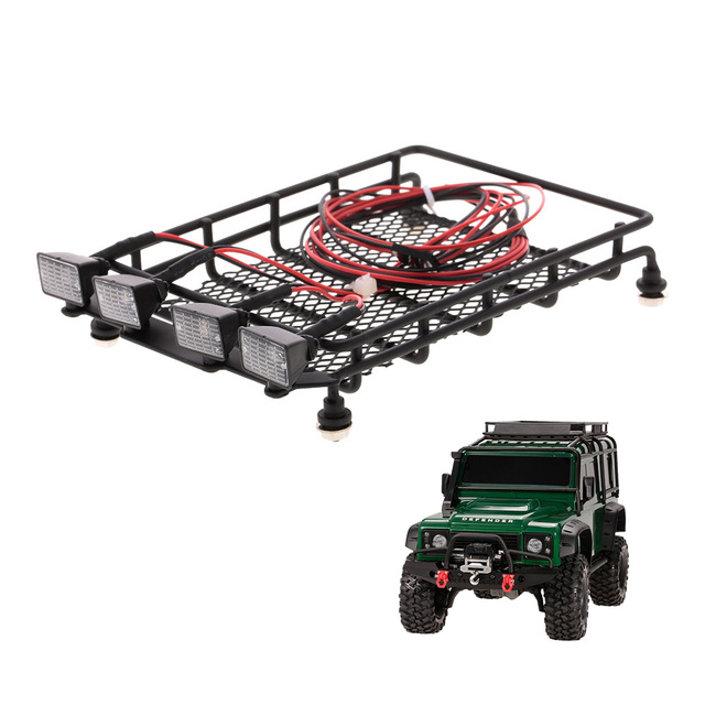 Roof Rack Luggage Carrier with Light Bar for 1//10 RC Crawler Axial SCX10 N5S3