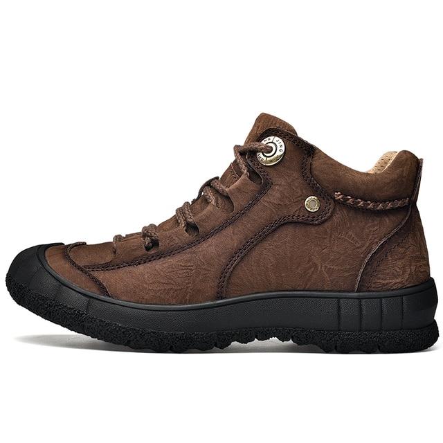 Фото мужские винтажные ботинки из натуральной кожи с круглым носком