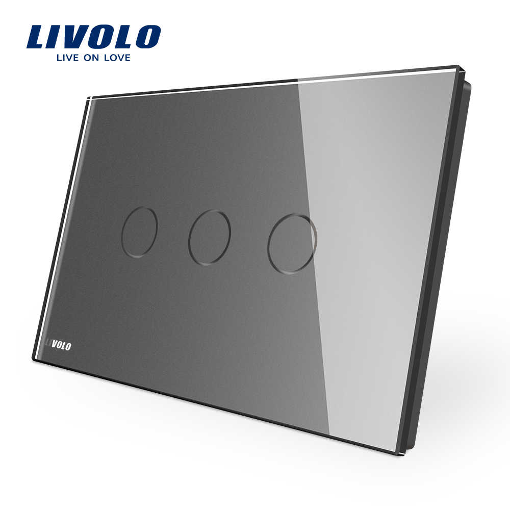 Produsen, Livolo Wall Switch VL-C903-11, 3-Gang 110 ~ 220V Panel Kaca Kristal, AU/US Standar Kontrol Layar Sentuh Lampu Dinding