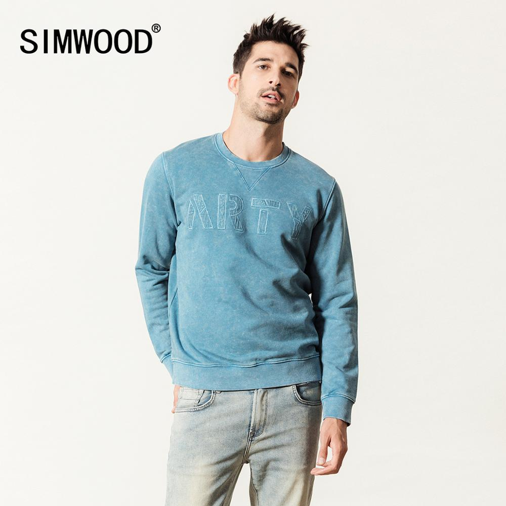 SIMWOOD 2020 Hoodies Men Snow Wash Letter Print Vintage Sweatshirt 100% Cotton Plus Size Jogger Tracksuits 190481