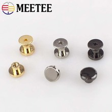 Meetee 10set/30pcs 10mm Flat Bottom Screw Metal Buckle Button DIY Leather Bag Clothing Decor  Craft Sewing Accessories BD395