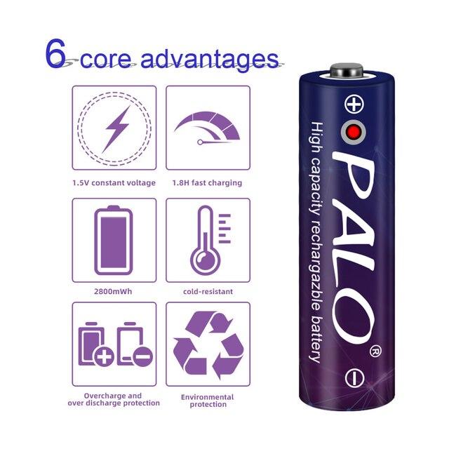 Palo 2-8 sztuk 1.5V 2800mWh AA akumulator litowo-jonowy 1.5V akumulator AA do aparatu zabawki + ładowarka USB case