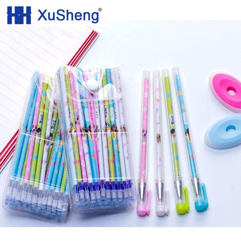 Cartoon Erasable Gel Pen 0.5mm Erasable Pen Refill Rods Blue Black Ink Washable Handle For School Stationery Office Writing