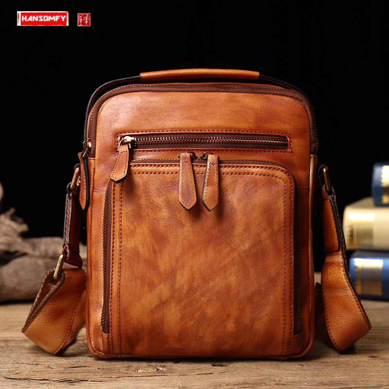 New Leather Men's Bag Handbag Casual Men Messenger Bag Vintage Shoulder Bag Small Version Of Vertical Section Crossbody Bags