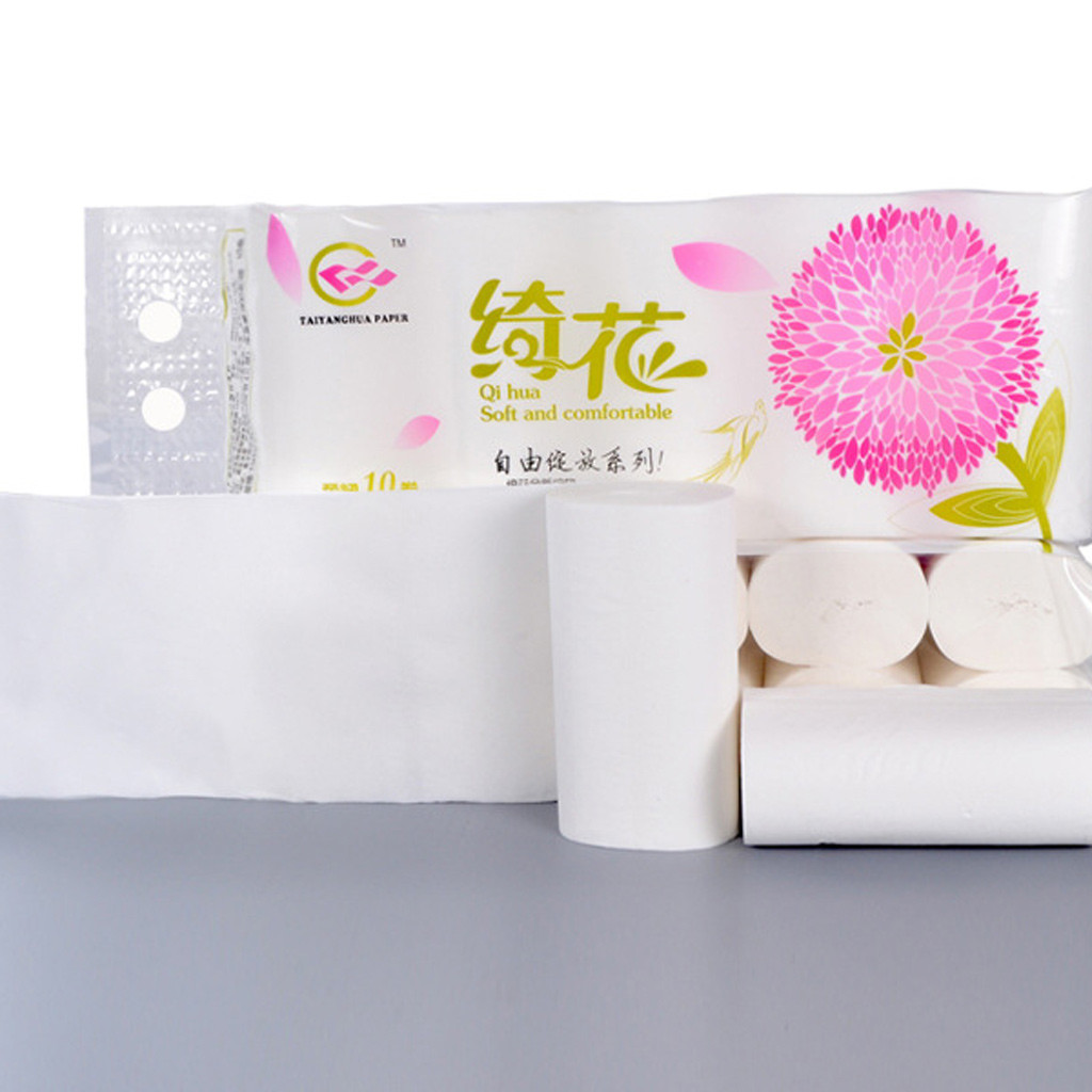 10 Rolls Clean Toilet Tissue Solid Paper Napkin Serviettes 4 Ply  Fold Paper Tissues Prevent Flu Soft Strong New Fold Paper #3