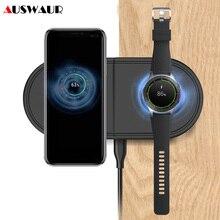 高速チーワイヤレス充電器サムスン銀河芽腕時計アクティブギア S2 S3 S4 スポーツ 2 で 1 携帯電話クイックワイヤレス充電