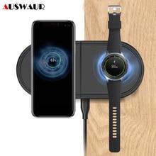 Snelle Qi Draadloze Oplader Pad Voor Samsung Galaxy Knoppen Horloge Actieve Gear S2 S3 S4 Sport 2 In 1 Mobiele telefoon Quick Draadloze Lading