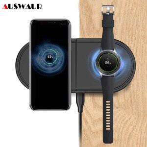 Image 1 - Snelle Qi Draadloze Oplader Pad Voor Samsung Galaxy Knoppen Horloge Actieve Gear S2 S3 S4 Sport 2 In 1 Mobiele telefoon Quick Draadloze Lading