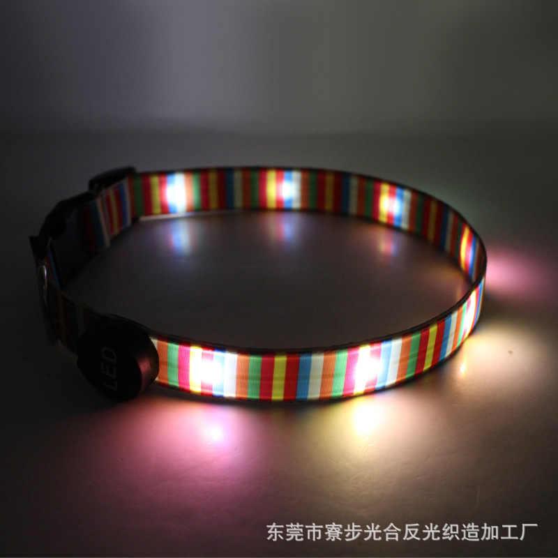 Android USB şarj Pet malzemeleri gökkuşağı şerit ışık kemer LED ışık köpek tasması