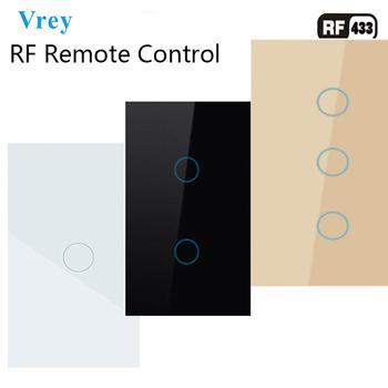 US standardowy przełącznik dotykowy bezprzewodowe przełączniki zdalnego sterowania RF433 bezprzewodowe przełączniki ścienne luksusowy Panel ze szkła hartowanego tanie i dobre opinie Vrey CN (pochodzenie) US Intelligent touch switch and remote control Z tworzywa sztucznego ROHS VR-US-RF-01 2 3 Pilot zdalnego sterowania