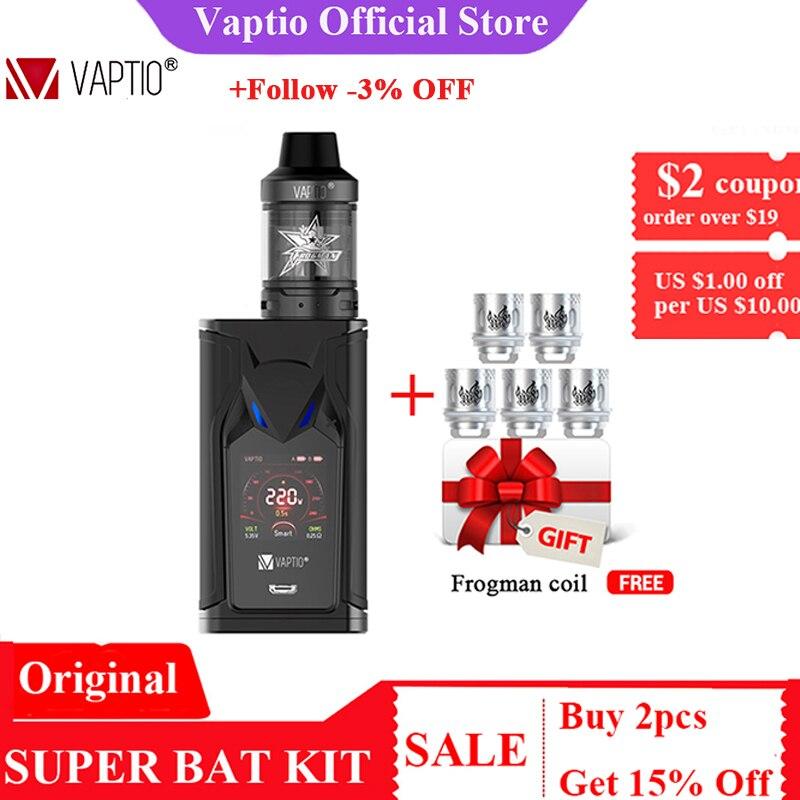 GIFT 5pcs Coils! VAPTIO SUPER BAT 220W Vape Kit Electronic Cigarettes 220W Box MOD 2.0/5.0ml Tank Vape Mod No Battery