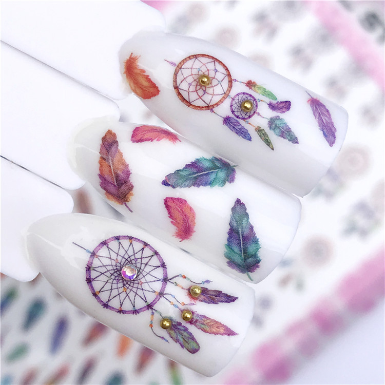 New Style 3D Thin Gum Color Feather Dreamcatcher Pretty Girl Warrior Nail Sticker Paper Supplies Accessories