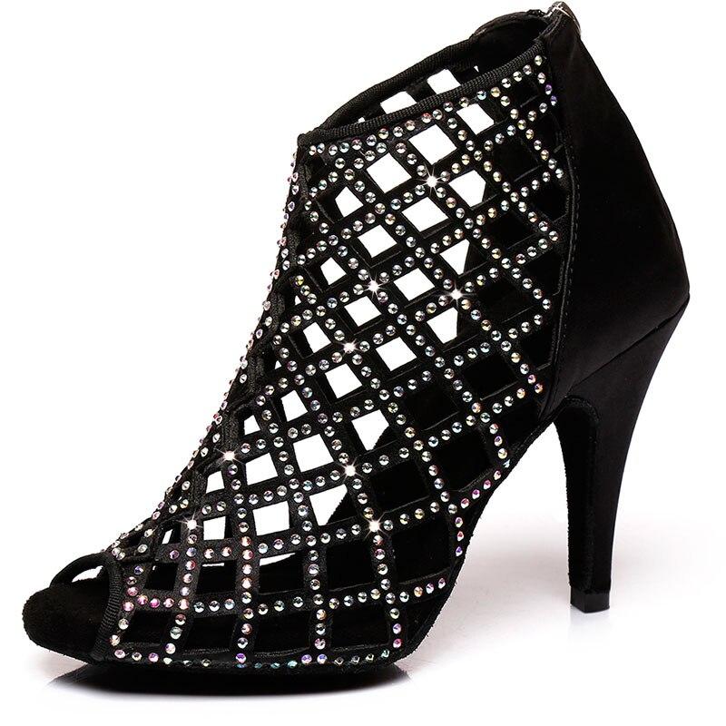HROYL New Women Latin Dance Shoes Female Girl Salsa Sandal Cuts-out Rhinestone Ladies Ballroom Tango Samba Sexy Party Heel6-10CM