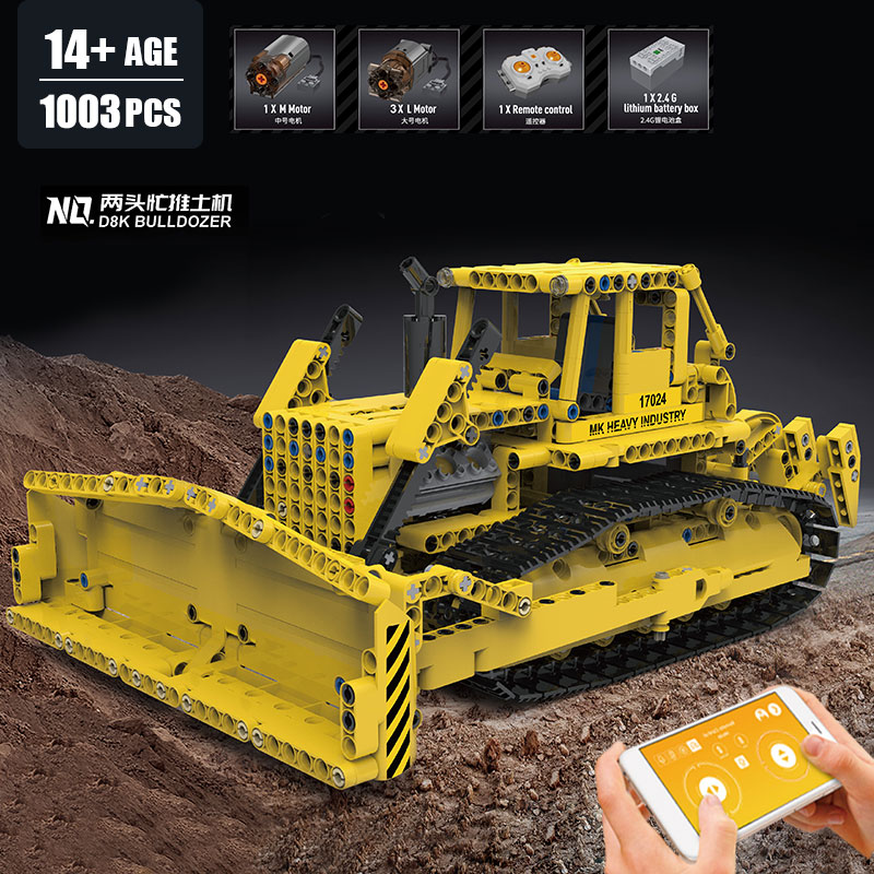 MOULD KING 17024 High-Tech Car The APP Control Bulldozer RC Caterpillar D8K Set Assembly Building Blocks
